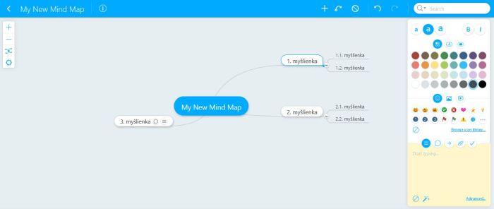 Myšlienkové mapy program Mindmeister